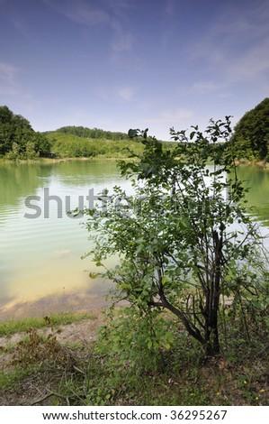 Green lake - stock photo