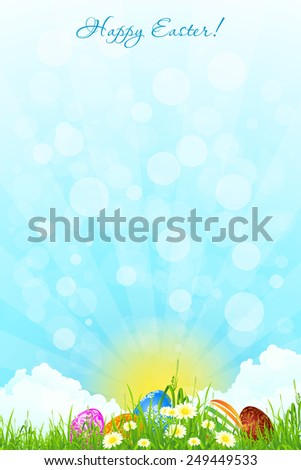 Green Landscape Background with Easter Eggs, Flowers, Sun and Clouds - stock photo