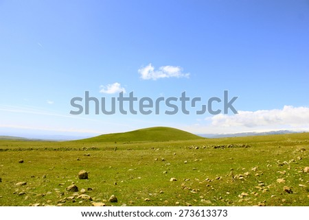 Green landscape of rocky highlands - stock photo