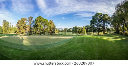 Green landscape unique golf court panoramic view. - stock photo