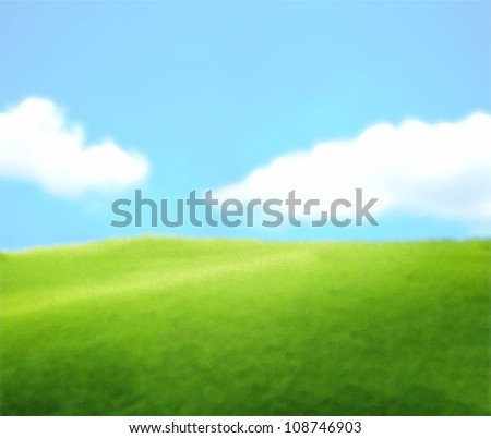Green Landscape With Blue Sky and Clouds - stock photo