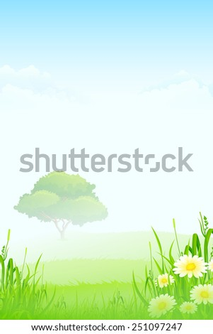 Green Landscape with clouds flowers and one Tree in Fog - stock photo