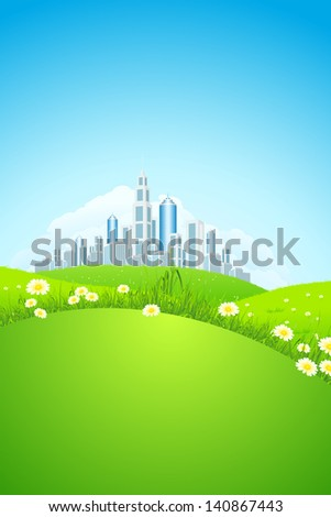 Green landscape with grass, flowers, city and clouds - stock photo