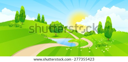 Green Landscape with Hills, Trees, Clouds, Lake, Sun and Road - stock photo