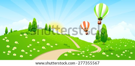Green Landscape with Road, Flowers, Trees and Hot-air-Balloons - stock photo