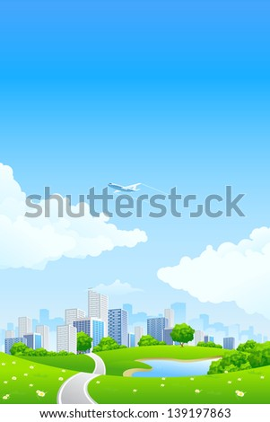 Green landscape with tree lake road city and clouds - stock photo