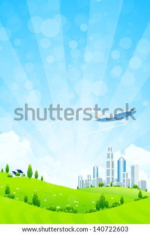 Green landscape with trees, city, airplane and clouds - stock photo