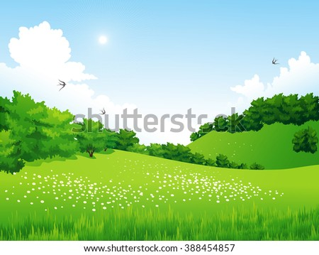 Green Landscape with trees, clouds, flowers. Summer meadow. Summer nature background. Spring landscape. Spring season. Nature spring meadow. Spring grass. Easter day. Spring scene - stock photo