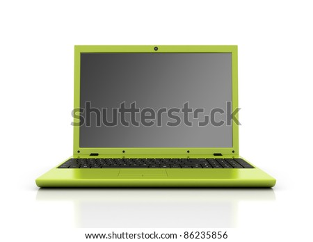 Green laptop isolated on white - stock photo