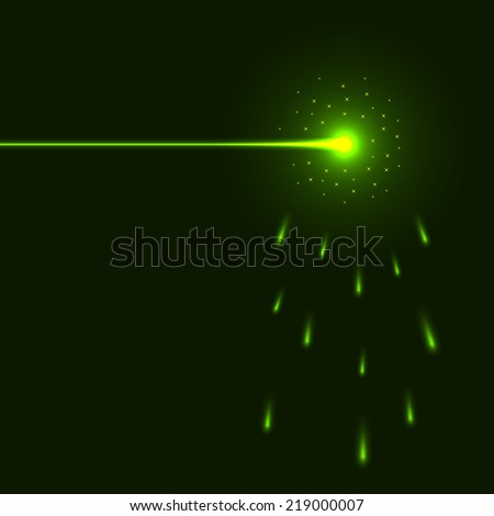 Green laser beam background with copy space. - stock photo