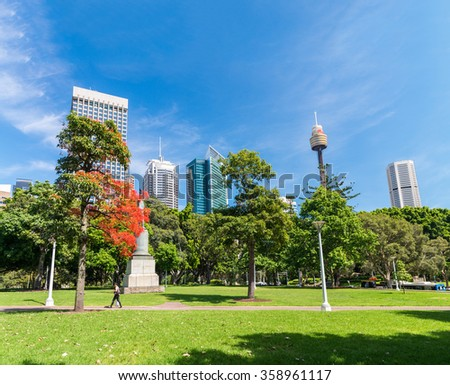 Green lawn with modern building as background in Sydney, Australia. - stock photo