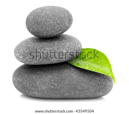 green leaf and zen stones - stock photo