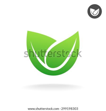 Green leaf vector icon. Eco symbol. - stock photo