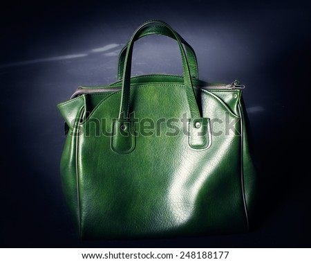 green leather bag - stock photo