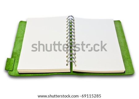 green leather case notebook isolated on white background - stock photo