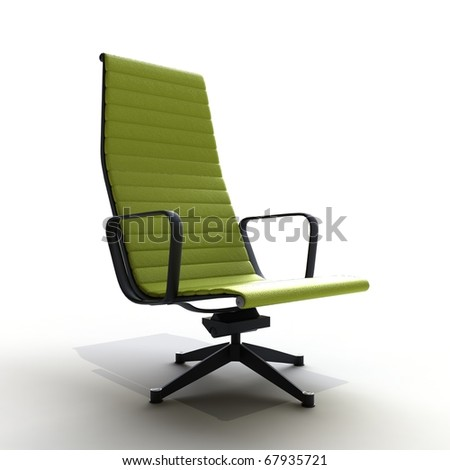 green leather chair isolated on - stock photo