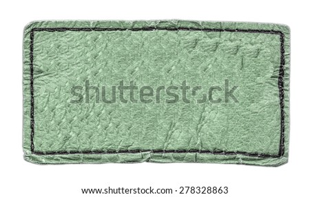 green leather label isolated on white background - stock photo
