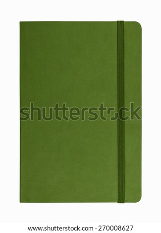green leather notebook isolated on white background - stock photo