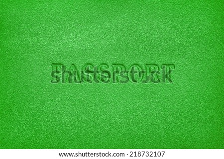 green leather passport cover background - stock photo