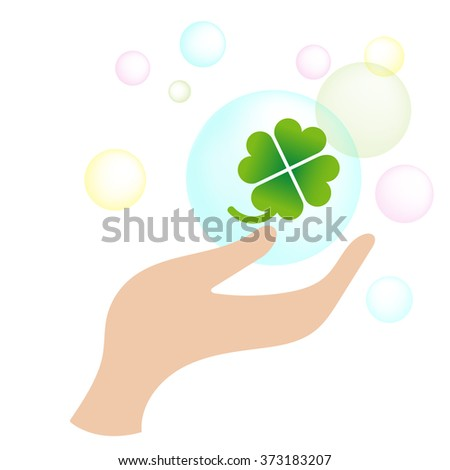 green leaves clover hand - stock photo