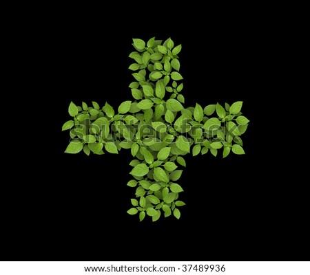 Green leaves cross on black - stock photo
