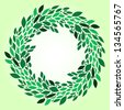 Green leaves fresh spring wreath background. Raster version, vector file also available at my port. - stock photo