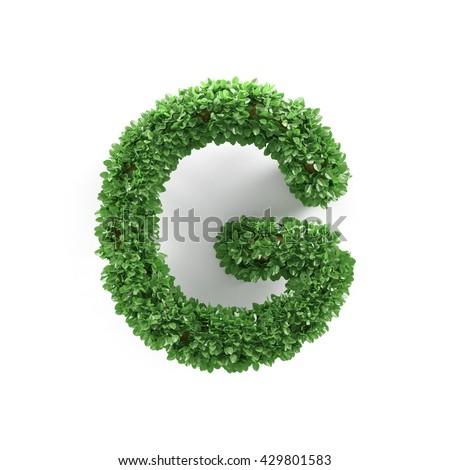 Green leaves G ecology letter alphabet font isolated on white background. 3d rendering - stock photo