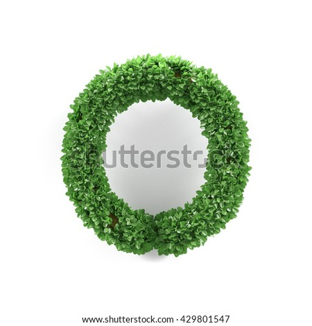 Green leaves O ecology letter alphabet font isolated on white background. 3d rendering - stock photo