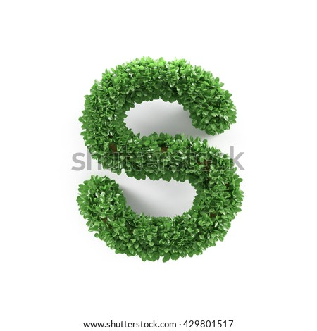Green leaves S ecology letter alphabet font isolated on white background. 3d rendering - stock photo