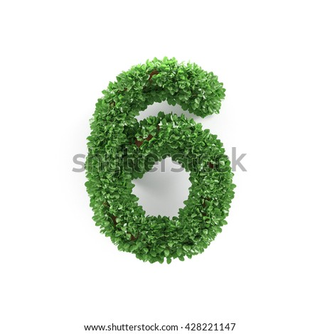 Green leaves 6 six ecology digits alphabet font isolated on white background. 3d rendering - stock photo