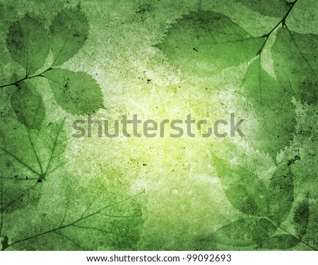 green leaves with vintage background - stock photo