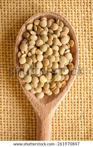 Green lentils pile on wooden spoon, healthy green raw seeds heap in studio shot, vertical orientation, nobody. - stock photo