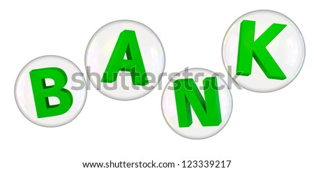 Green letters bank in soap bubbles - stock photo