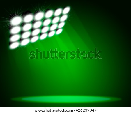 Green light beam hitting at the rough surface with copy space - stock photo