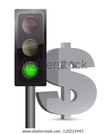 green light on dollar concept illustration design over white - stock photo