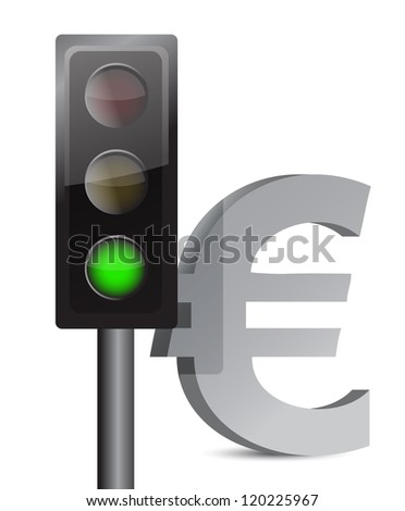 green light on euro concept illustration design over white - stock photo