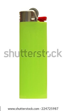 green lighter isolated on white - stock photo