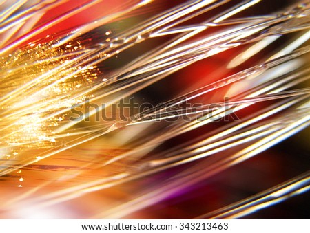 Green lights and rays on the black background, textured lighting background - stock photo