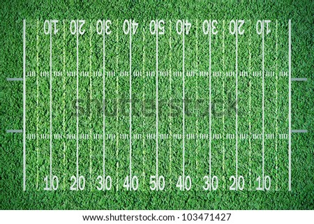 Green lined football  or soccer field - stock photo