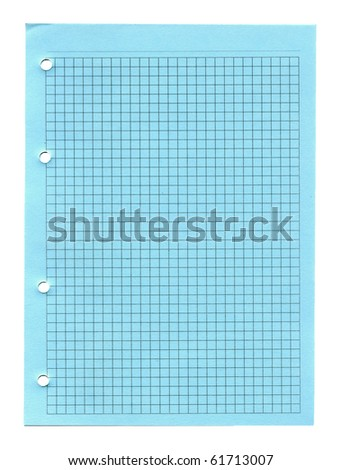 Green lined notebook paper with holes isolated on white - stock photo