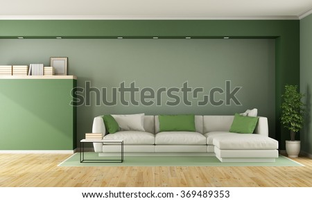 Green living room with sofa on carpet - 3D Rendering - stock photo