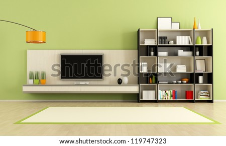 green  living room with tv stand and bookcase - rendering - stock photo