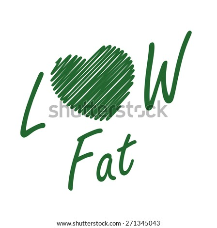 Green Low Fat Label, Banner, Sign or Icon Isolated on White Background - stock photo