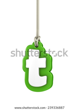 Green lowercase letter T hanging on rope with clipping path - stock photo