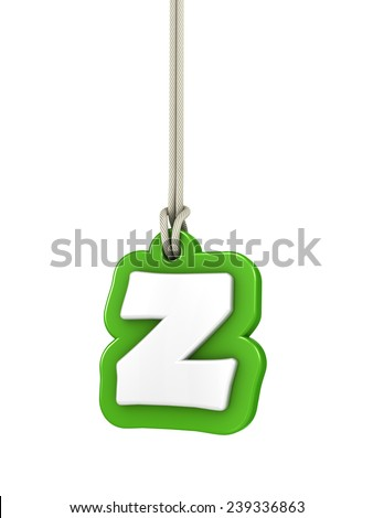 Green lowercase letter Z hanging on rope with clipping path - stock photo