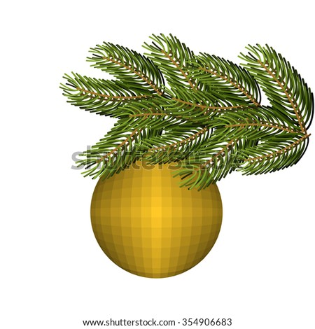 Green lush spruce and gold ball ornament for Christmas and new year. Holiday tree. - stock photo