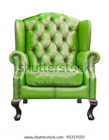 green luxury armchair isolated with clipping path - stock photo