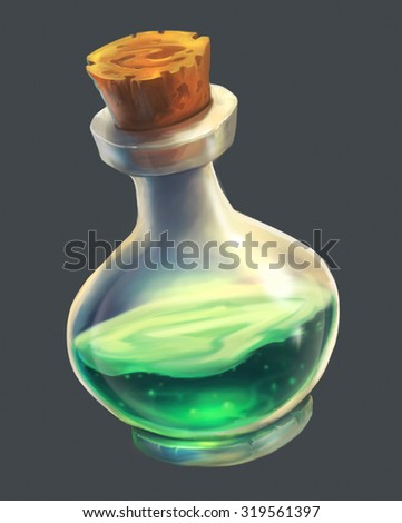 Green Magic Potion UI - stock photo
