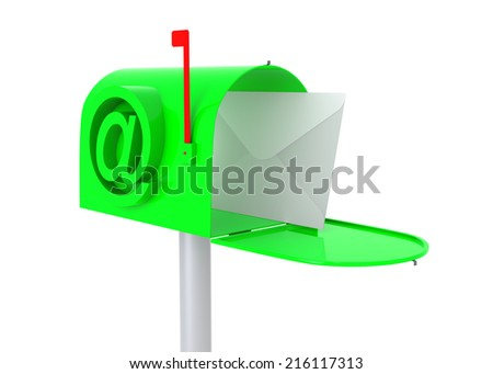 Green mail box with letter. 3D illustration isolated on white. - stock photo