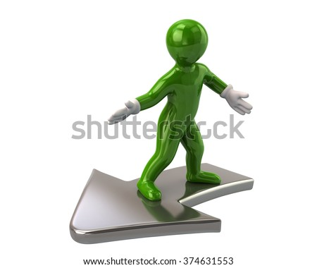Green man flying on arrow isolated  on white background - stock photo